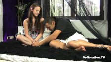 Defloration of Amira - porn actor seduces beginner virgin model