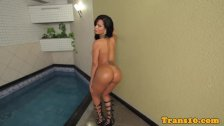 Solo latina trans toying her ass with dildo