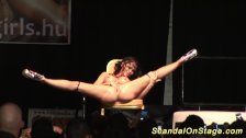 flexible busty babe on stage