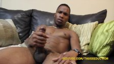 Ryder sytrokes his massive dick and make it spit