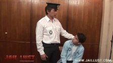 Poor young inmate ordered to deepthroat his warden
