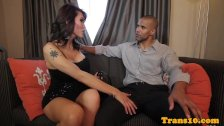 Transsexual busty ladyboy barebacked by male