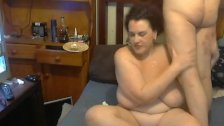bbw takes a huge load of cum in her throat
