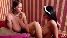 Busty Luxury Milf lesbian fucks a Crazy Hot Big Titty Maid!