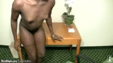 Black cock girl wanks off her shecock at work and spermloads