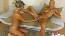 2 sexy blonde lesbians licking  tender pink clits