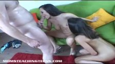 Hot brunette teen Roxxxy Rush train by milf and her man