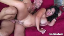 Beautiful brunette MILF tangles with big cock