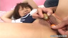 Asian schoolgirl getting her pussy toy fucked delightfully