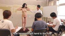 Subtitles ENF CMNF Japanese milf nude art class HD