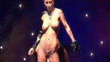 extreme fetish show on public stage