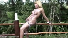Blonde t-babe strips down hot bikini and exposes round boobs