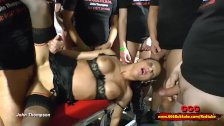 Dirty brunette whore used as a toilet in a huge gangbang - 66Bukkake