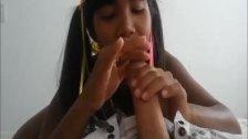 Ameteur Tiny Thai Teen Heather Deep day at the beach gives deepthroat Throa