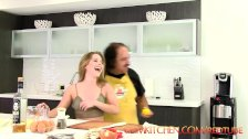 CUM KITCHEN: Ron Jeremy fucks young teen Lilly Ford while cooking
