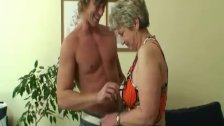 He drills her shaved old snatch