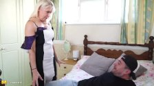 Blonde granny gets fucked by the TV repairman