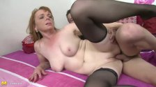 Big titted brunette mature fucks in stockings - duration 6:15