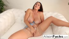 Alison Tyler rubs her pussy