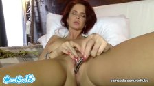 Emily Addison big tits redhead rubbing and fucking her wet pussy.