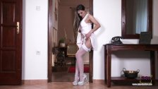 Perfect bodied blonde Dominica Phoenix teasing in stockings