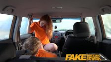 Fake Driving School Swotty ginger student has pussy filled with cum