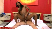 Black tgirl and her BF in 69 cock sucking and anal hardcore