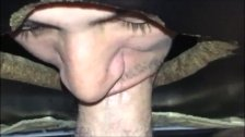 Blowing Huge Cut Cock Over Gloryhole