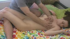 Teen babe receives a nice full body massage