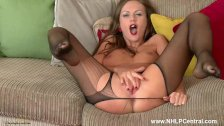 Brunette Milf Tina Kay plays with her pussy in ripped sheer nylon pantyhose