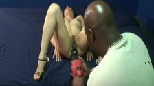 Drilling her wet pussy with a dildo drill like a madman