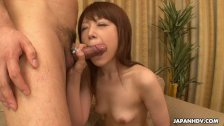 Skinny small boob brunette has a sixty nine and a cock suck