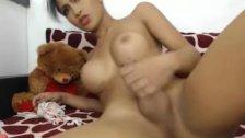 Pretty Shemale Babe Masturbate Her Big Cock