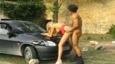 skinny german blonde gets fucked on the street