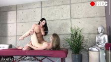 Angela White and Lena Paul Lesbian Scissor and Cum