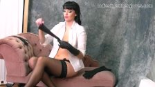 Brunette babe with big tits in nylon stockings leather gloves fetish tease
