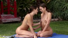 Riley Reid and Lana Rhoades doing Nude Yoga Stretches