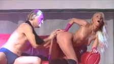 hot blonde babe gets dildo fucked on stage