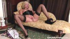 Hot blonde AxaJay in vintage wear sheer nylon panties wanking her wet pussy