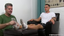 Inked hunk KC relaxes while an older freak licks his feet