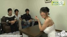 Three guys playing with busty asian with real huge boobs