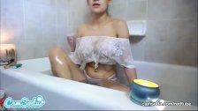 Ms Vera Cruz big ass big tits Latina bath time rub – wet boobs.