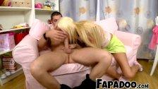 Super Hot Blonde Sucking Juicy Dick Till Gagging!