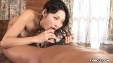 Gorgeous Asian brunette passionately sucks and rides a hairy boner