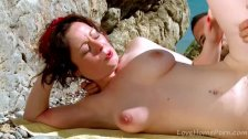 Ginger With Nice Tits Get Fucked At Beach