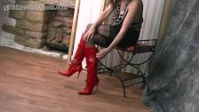 Kinky brunette Milf teases tits panties nylon legs and sexy leather boots