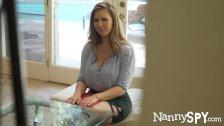 NannySpy Exhibitionist nanny Lena Paul caught and fucks to keep job