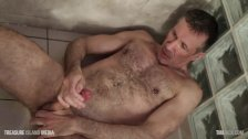 Muscle dad fucks his own ass and piss HD