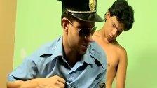 Prisoner twink Lorenzo fucks anally horny officer Bruno