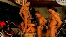 Muscled biker dudes rough and raw fuck feast gay orgy